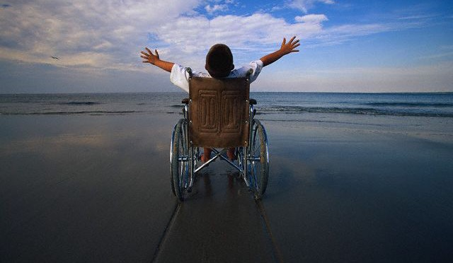 Wheelchair boy  Beach